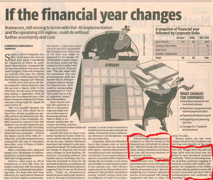Financial Year Changes