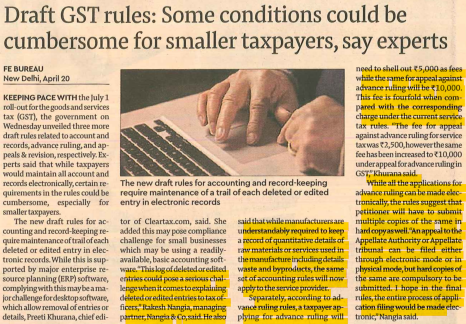 Rakesh Nangia On Draft GST Rules