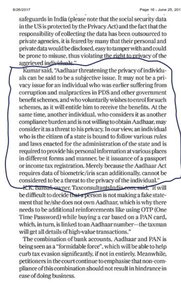 Aadhaar Card & Account Privacy