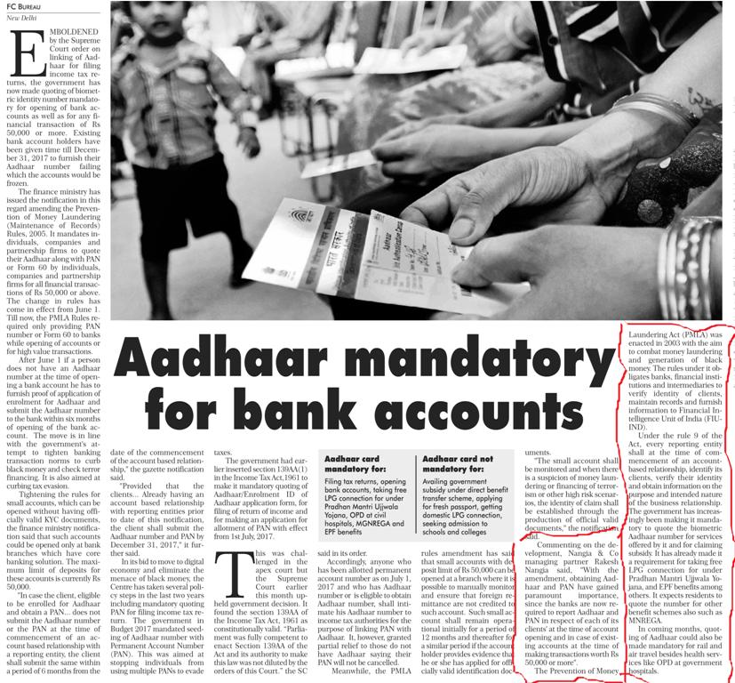 Aadhaar Mandatory for Bank Accounts - Rakesh Nangia and Suraj Nangia