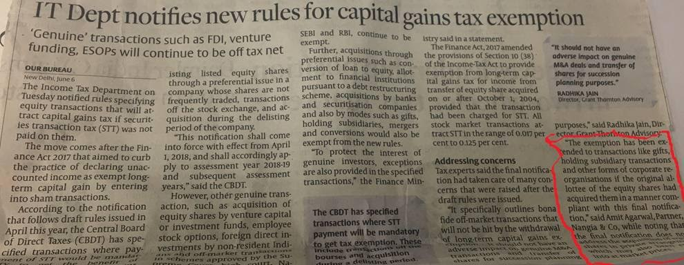 Capital Gains tax Exemption - Rakesh Nangia