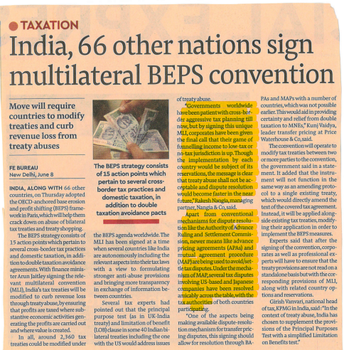 Rakesh Nangia BEPS Convention