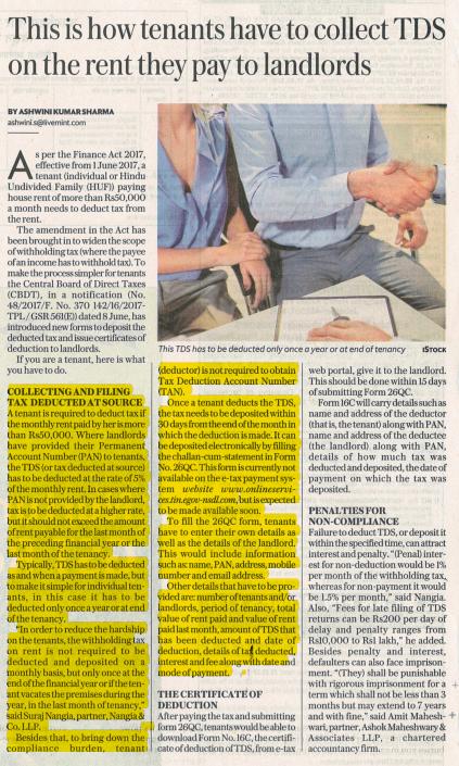 Suraj Nangia Partner Nangia & Co LLP Tenants TDS