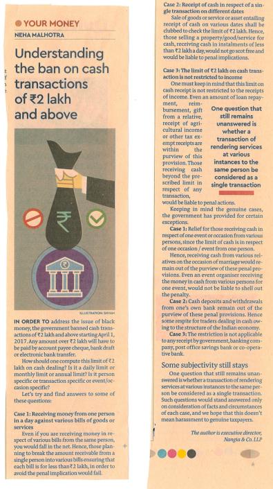 Rakesh Nangia - Understanding on Cash Ban