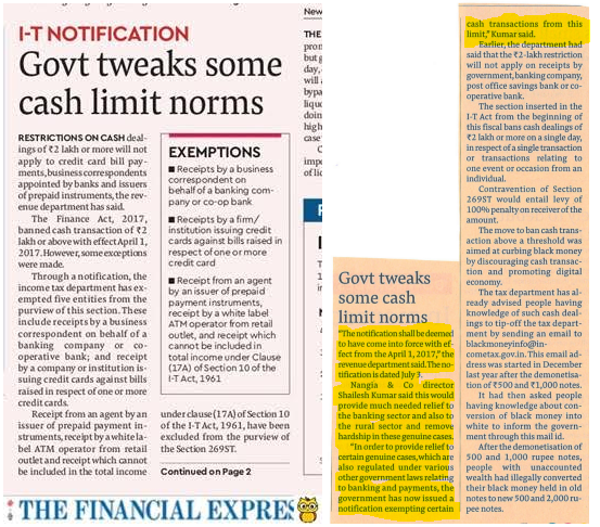 Shailesh Kumar - Govt Tweaks Cash Limit