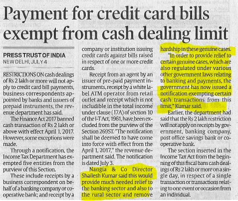 Shailesh Kumar - Payment For Credit Bills