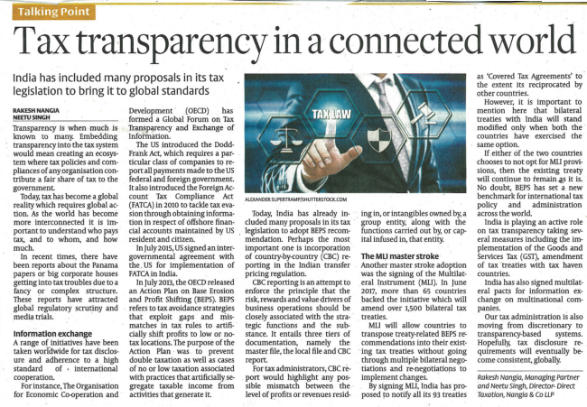 Tax Transparency In Connected World - Rakesh Nangia
