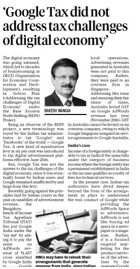 Google tax challenges of digital economy - Rakesh Nangia