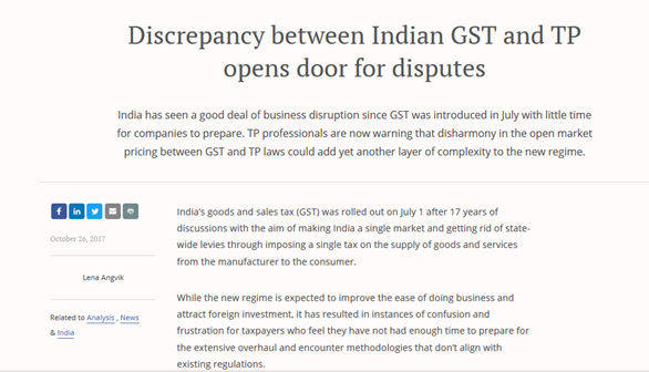 Indian GST and TP opens door for disputes