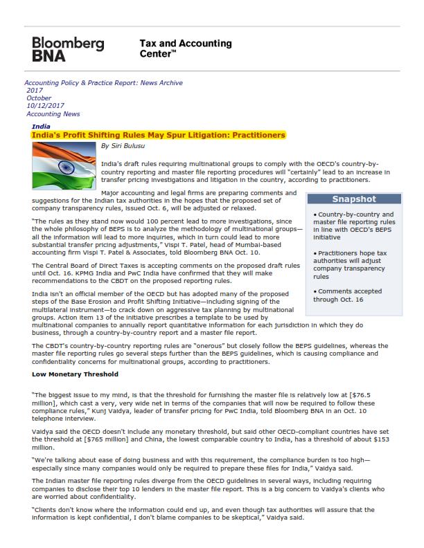 India's Profit Shifting Rules - Nitin Narang
