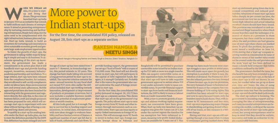 More Power to INDIAN START-UPS - Rakesh Nangia
