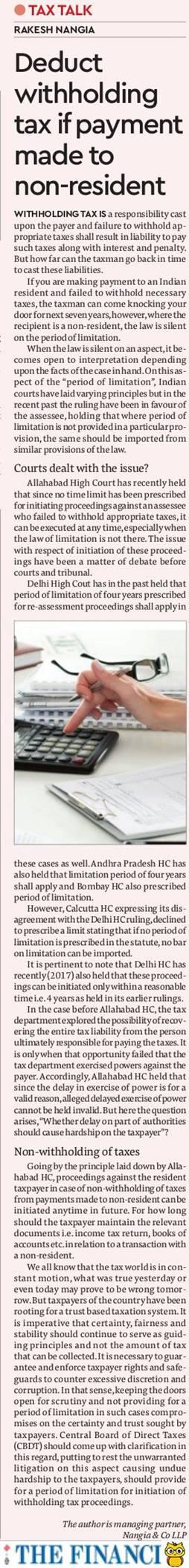 Withholding Tax - Rakesh Nangia
