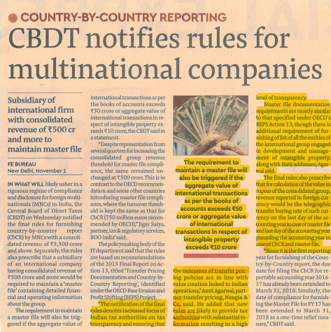 CBDT rules Notifing multinationals Price Transfer- Amit Agarwal
