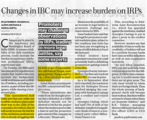 Changes in IBC may increase burden on IRPs for Livemint