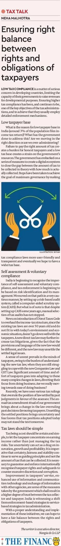 Tax-Talk-Ensuring right balance between rights and obligations of taxpayers- Neha Malhotra