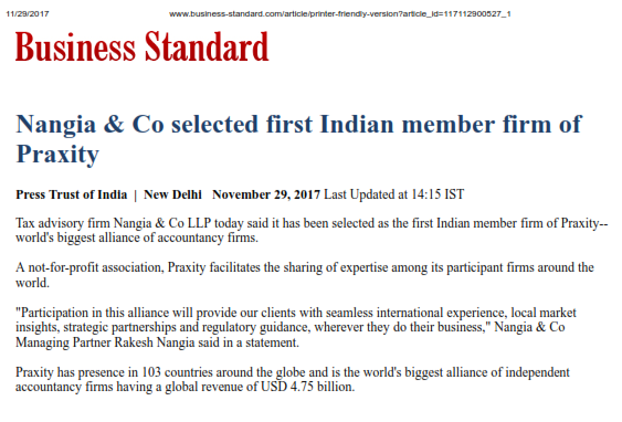Praxity - First Indian Firm - Nangia & CO LLP
