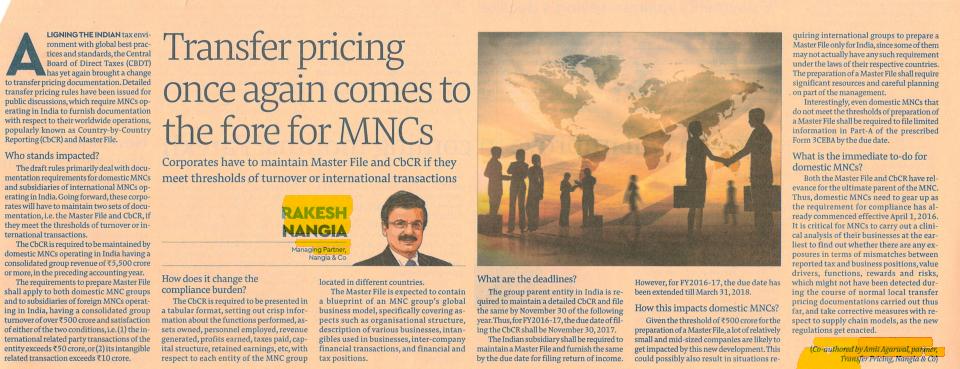 Transfer Pricing For MNCs - Rakesh Nangia