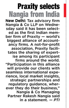 first Indian member firm of Praxity - Nangia & CO LLP