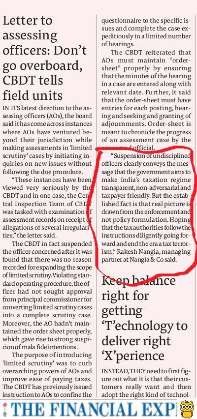 Letter to assessing officersDon't go overboard CBDT tells field units-Rakesh Nangia