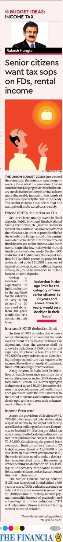 Senior citizens want tax sops on FDs, rental income