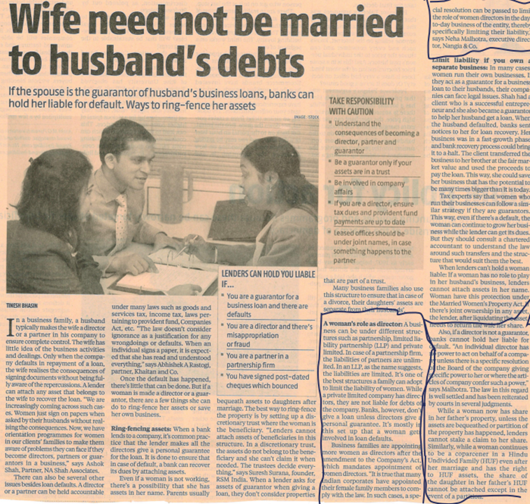 Neha Malhotra, Executive Director shares her views on Responsibility with caution: Wife need not be married to husband's debts