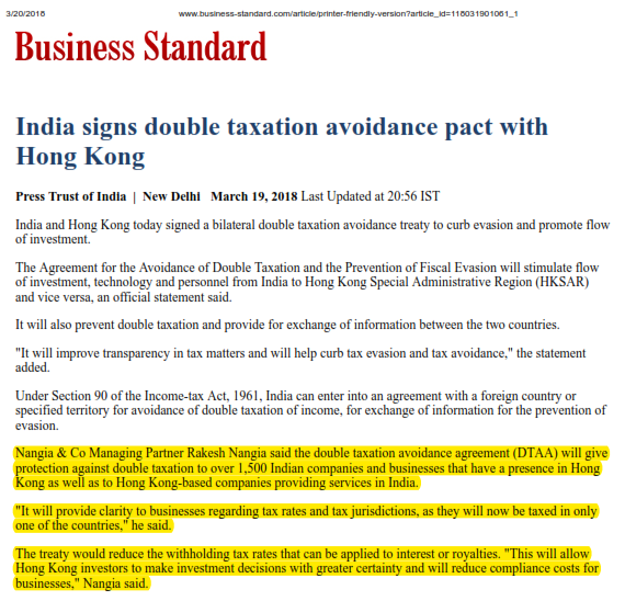 India Signs Double Taxation Avoidance Pact With Hong Kong Rakesh