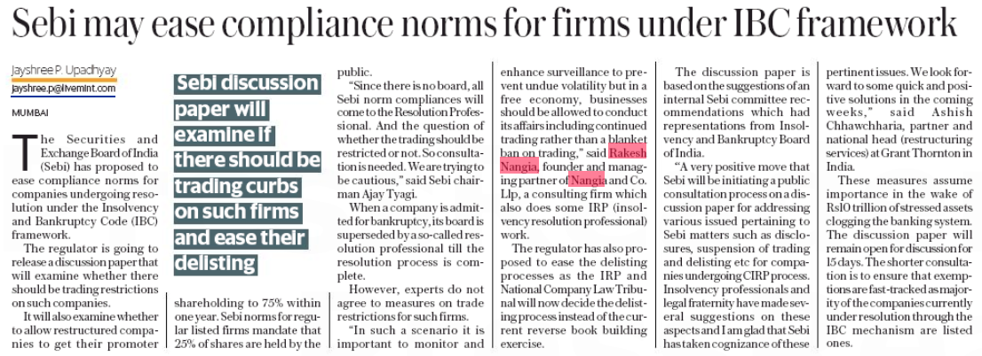 Sebi may ease some compliance norms for firms under bankruptcy- Rakesh Nangia