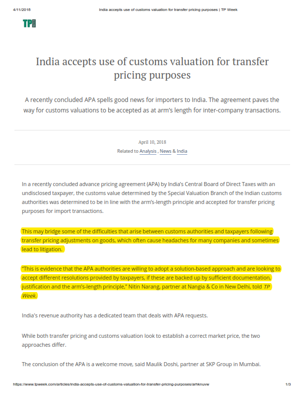 India Accepts Use Of Customs Valuation For Transfer Pricing Purposes