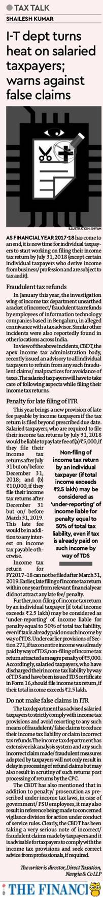 income-tax-department-turns-heat-on-salaried-taxpayers-warns-against-false-claims-shailesh-kumar