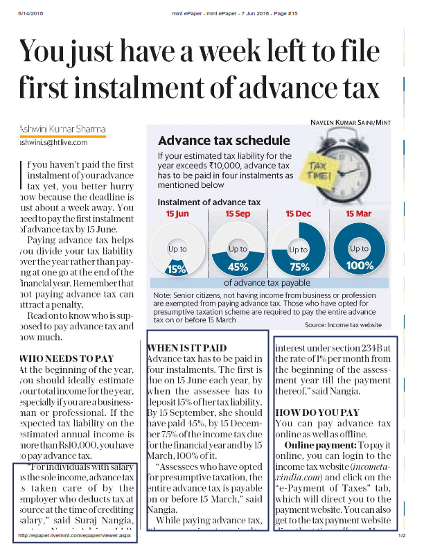 Deadline for filing first instalment of advance tax ends 15 June
