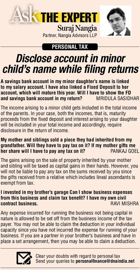 disclose-account-in-minor-childs-name-while-filing-returns