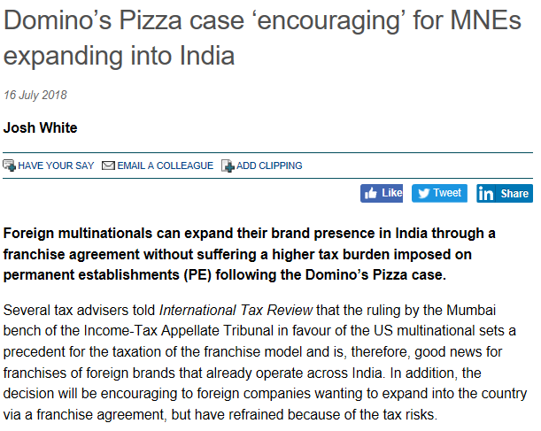 Domino's Pizza case 'encouraging' for MNEs expanding into India - Suraj Nangia