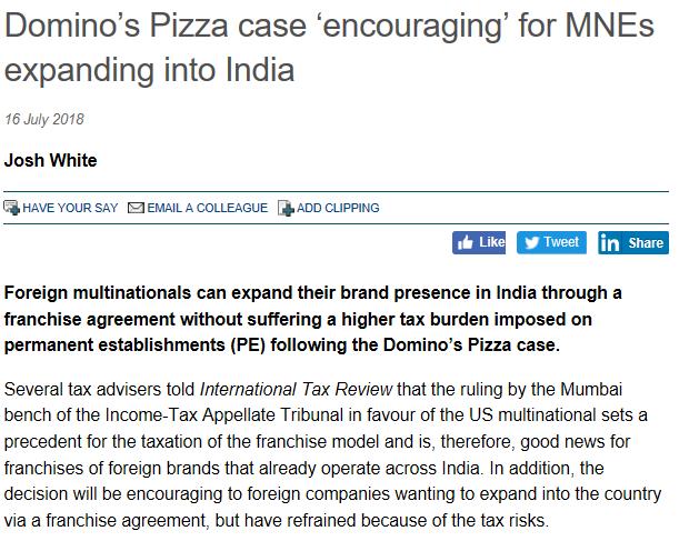 Domino's Pizza case 'encouraging' for MNEs expanding into India - Suraj Nangia