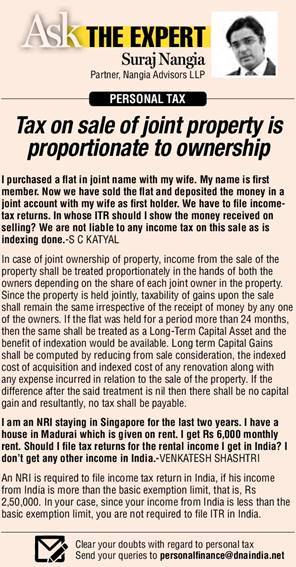 Income from sale of joint property will be taxed proportionately for both owners