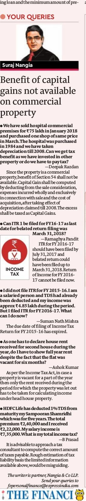 Income Tax: Benefit of capital gains not available on commercial property