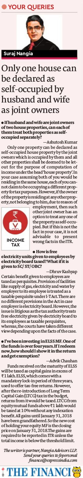 Income Tax: Only 1 house can be declared as self-occupied by husband and wife as joint owners - Suraj Nangia