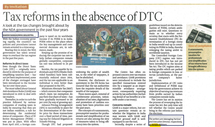 Tax reforms in the absence of DTC