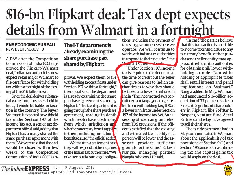$16-bn Flipkart deal: Tax department expects details from Walmart in a fortnight - Rakesh Nangia