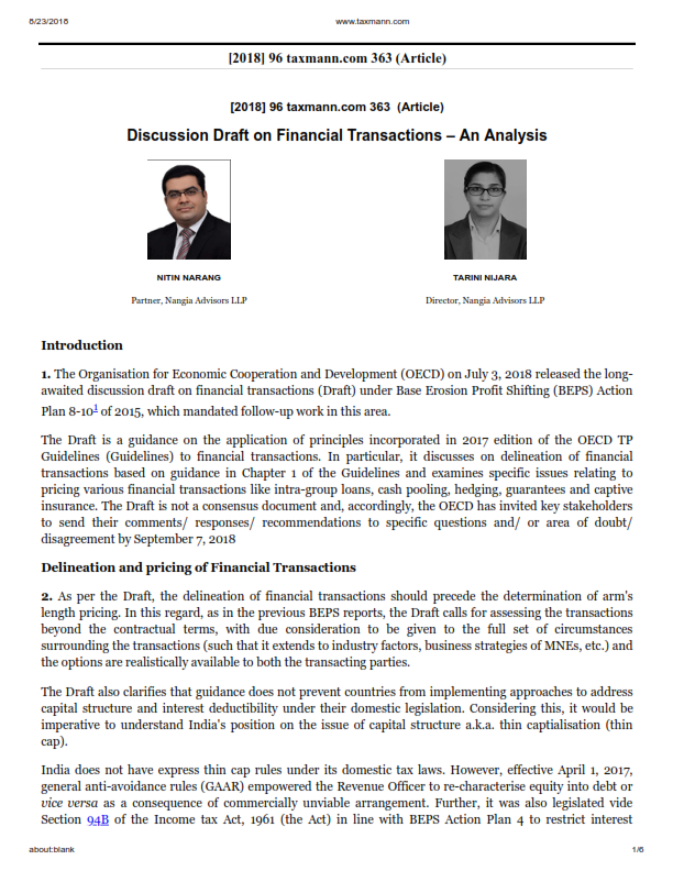 Discussion Draft on Financial Transactions – An Analysis: Nitin Narang and Tarini Nijhara