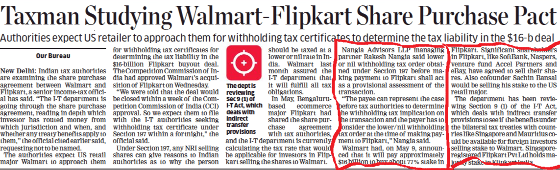 Flipkart deal : Taxman expects Walmart's with holding tax filing in 15 days - Rakesh Nangia