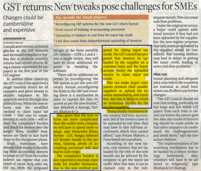 GST returns- New tweaks pose challenges for SMEs- Himanshu relan