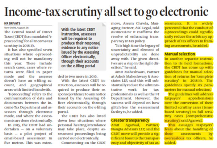 Income-tax scrutiny all set to go electronic