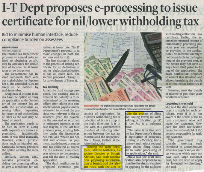 IT Dept proposes e-processing to issue certificate for nil/lower withholding tax - Mridhu Malhotra