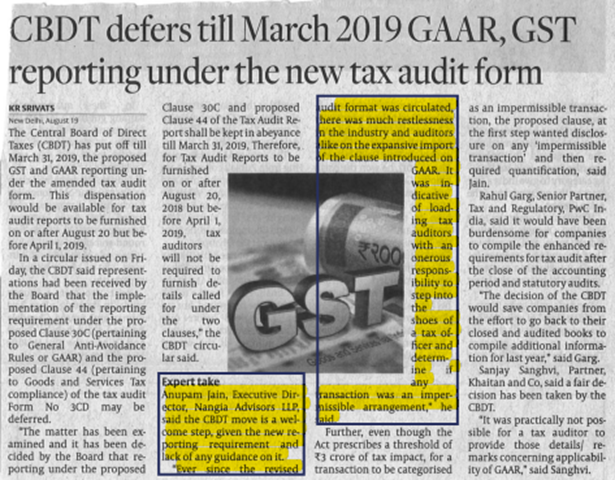 "New Australian PM pledges ""generational change"" to heal ruling party CBDT defers till March 2019 GAAR, GST reporting under the new tax audit form - Remove term: Anupam Jain Anupam Jain"