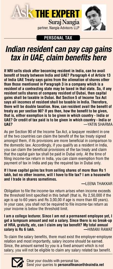 PERSONAL TAX: Indian resident can pay cap gains tax in UAE, claim benefits here