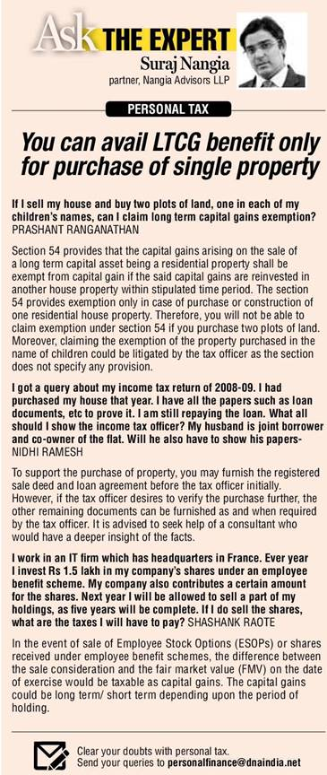 PERSONAL TAX: You can avail LTCG benefit only for purchase of single property