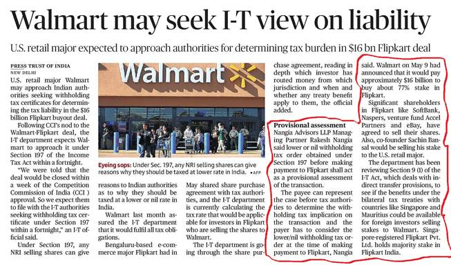 Walmart may approach income tax department to determine tax liability in Flipkart deal - Rakesh nangia