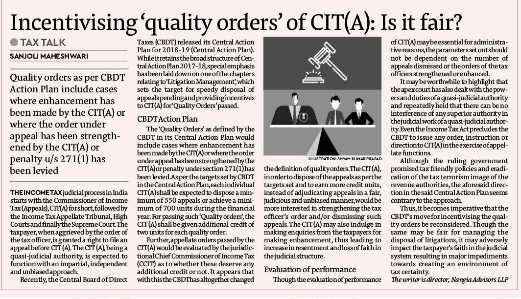 Incentivising 'quality orders' of CIT(A): Is it fair?