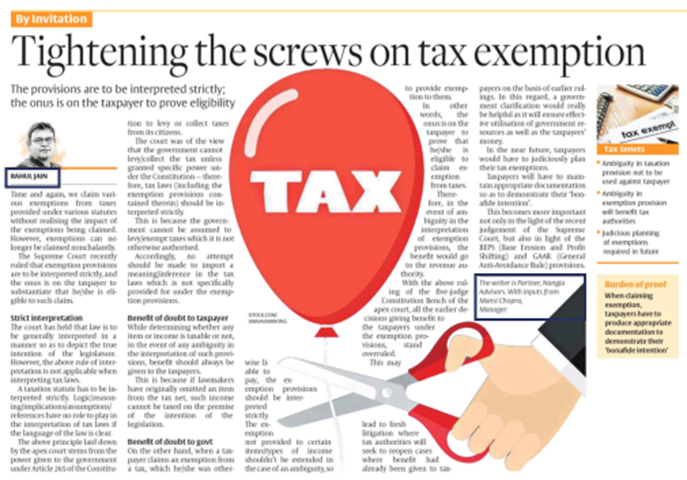 Nangia Advisors LLP in News- Tightening the screws on tax exemption