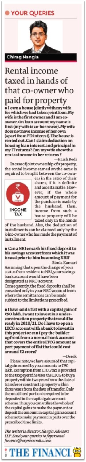 Rental income taxed in hands of that co-owner who paid for property